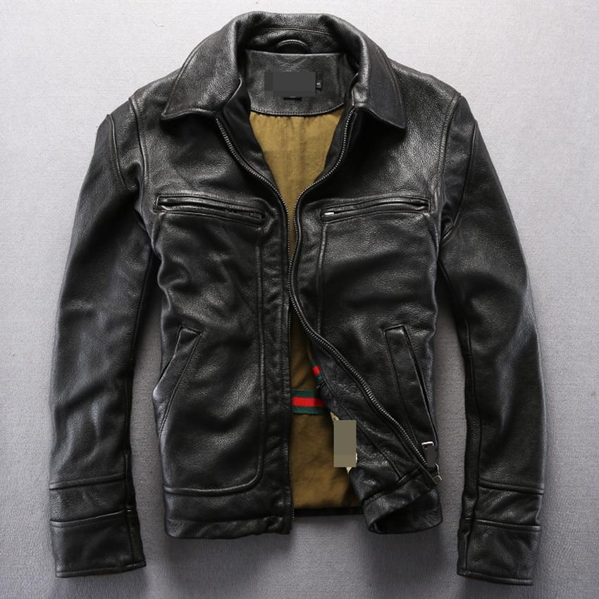 the latest e54d8 ec43e US $253.3 15% di SCONTO|Vintage genuino uomini giacca di pelle moto uomo  giacca in pelle nera cappotto per gli uomini in vera pelle di vitello pelle  ...
