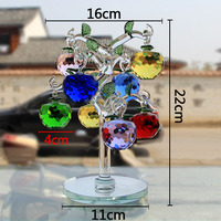 Glass Crystal Apple Tree With 8pc Apples Fengshui Crafts Home Decor Figurines Christmas New Year Gifts