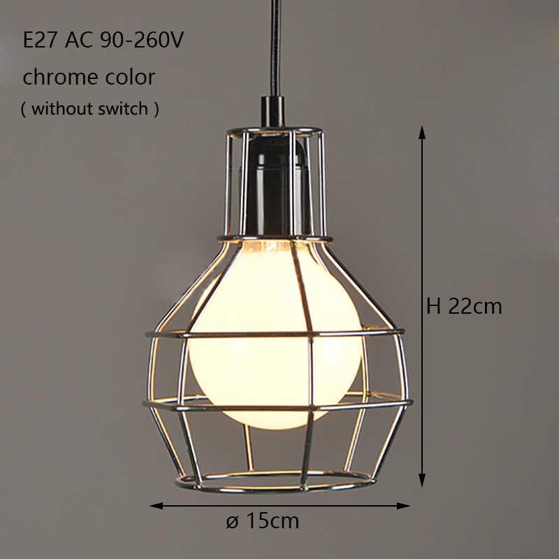 Лофт Склад стиль ретро черный промышленных железной клетке, подвесные светильники шнур светильники Светильник светодио дный E27 для столовой спальня бар