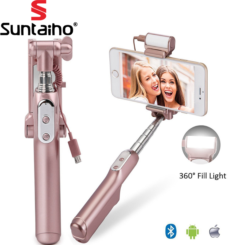 Suntaiho Bluetooth Monopod Self Stick with Rear Mirror and Light Remote Shutter Monopod Fill Light for