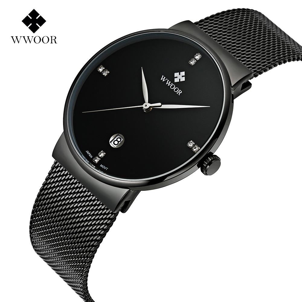 Prix pour Marque Hommes de montres robe quartz montre hommes en acier maille bracelet à quartz-montre Ultra-mince ultra horloge relogio masculino