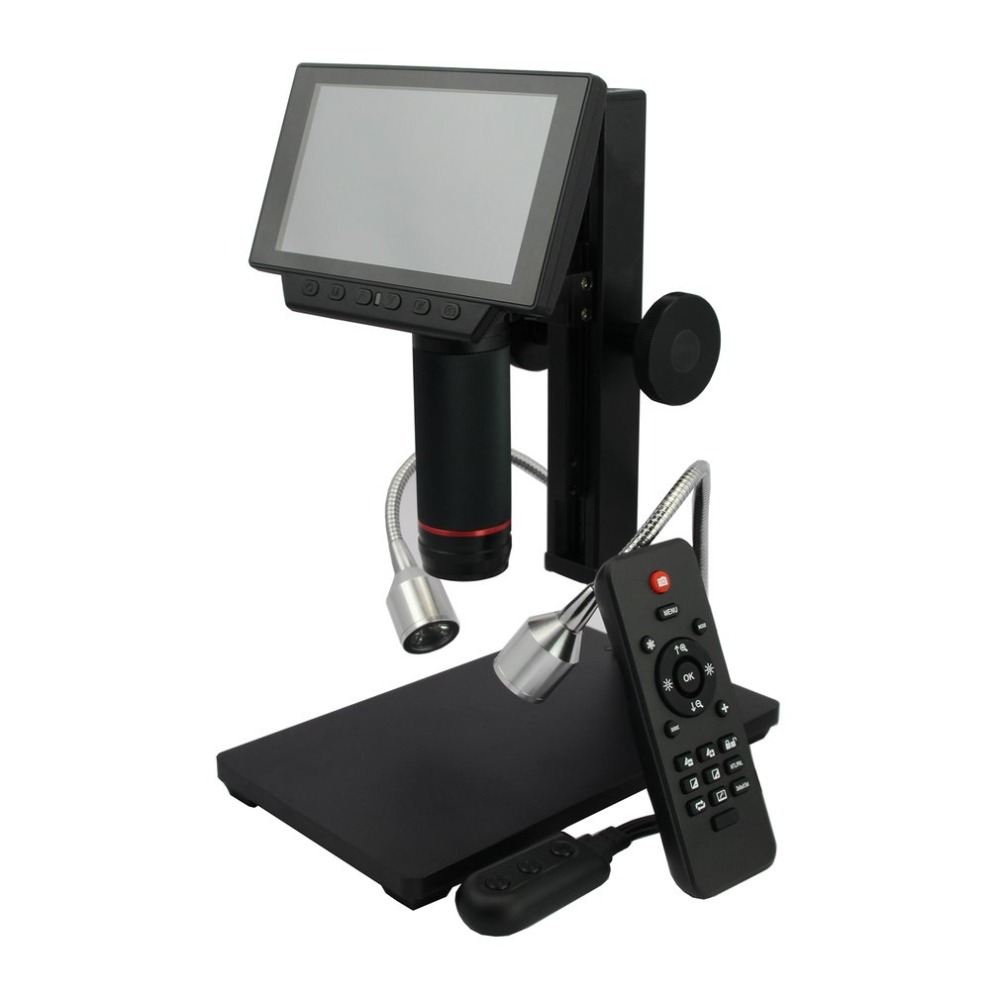 Lupa de grabación de vídeo ADSM302 Digital LCD HDMI microscopio 3MP para reparación de PCB con control remoto IR Enchufe europeo