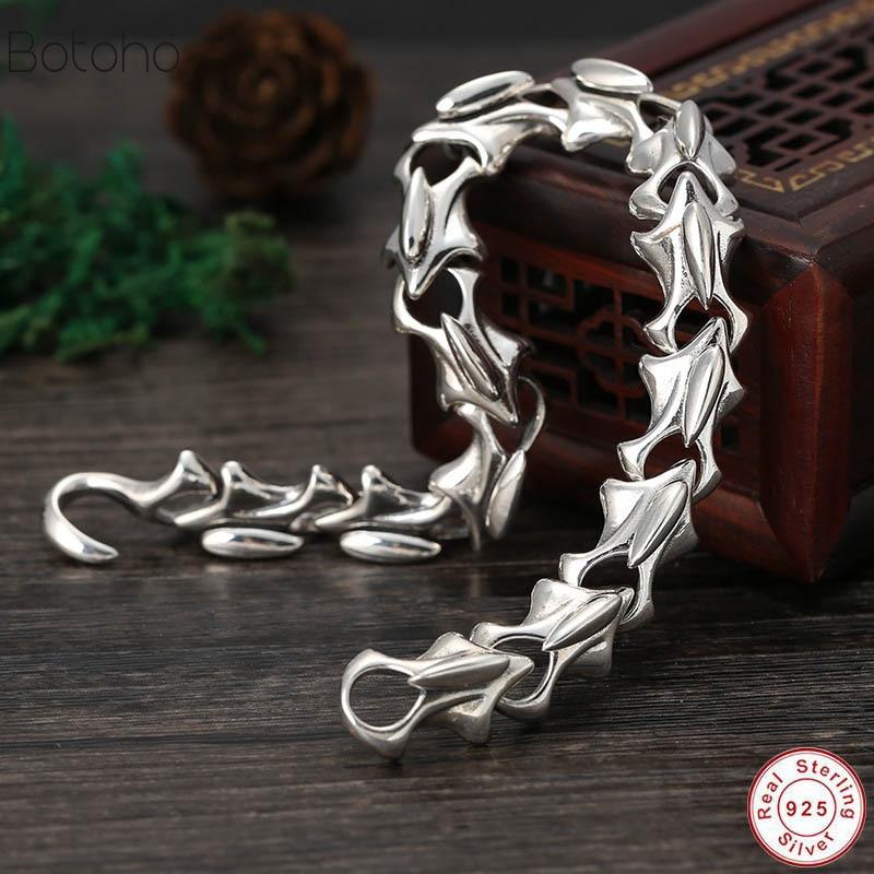 2019 NEW Genuine 925 Sterling Silver Jewelry Heavy Dragon Scale Bracelet For Men 21CM Vintage Punk Style Glamour men's bracelet