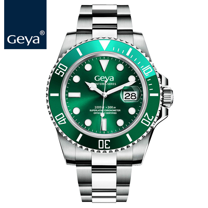 geya men watches submariner diver rlx luxury top brand green luminous sapphire automatic