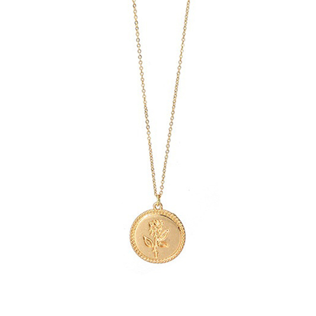 3f2541b605 Trendy Gold Color Rose Flower Charm Coin Necklace Simple Female Long  Layering Chain Alloy Round Medallion