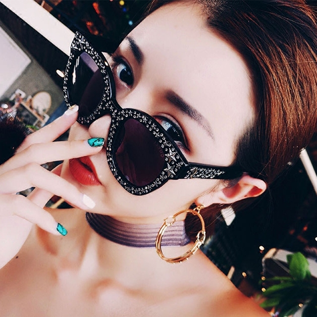 Summer Brand Designer Sunglasses Women Clear Lens Pentagram Sun Glasses Women Cat Eye Shades Ladies Glasses