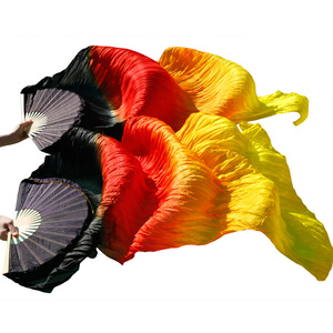 Image 4 - 100% Silk Dance Fans High Quality Chinese Silk Fans 1 Pair Handmade Dyed Silk Belly Dance Fans 23 Colors 120/150/180/230*90 cm