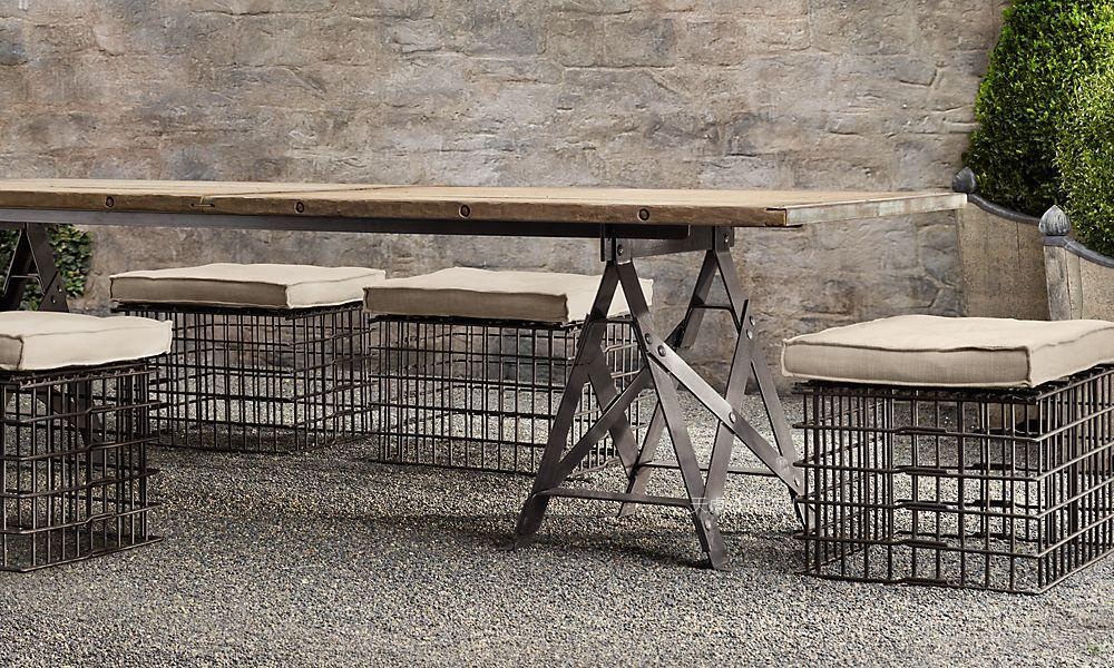 Industrial Loft Style Retro French Country Table Iron Solid Wood Dining Metal Sets Tables