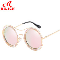 DILICN Trendy Pink Mirror Round Sunglasses Women Vintage Double Circle Sun Glasses Ladies Metal Frame Eyewear Oculos Redondo