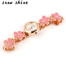 snowshine 10xin 1PC Fashion Daisies Flower Rose Gold Bracelet Wrist Watch Women Girl free shipping