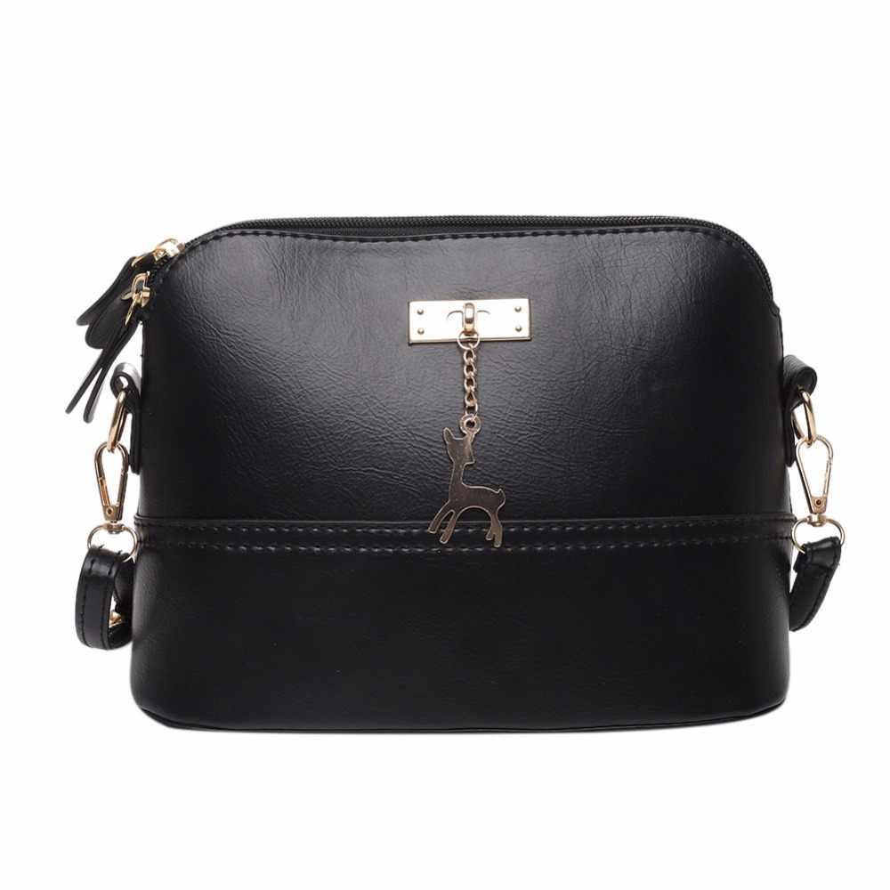 Для женщин Мода Crossbody сумка из искусственной кожи сумка с кулон с оленем Crossbody Сумки женские мягкие Курьерские сумки Blosas