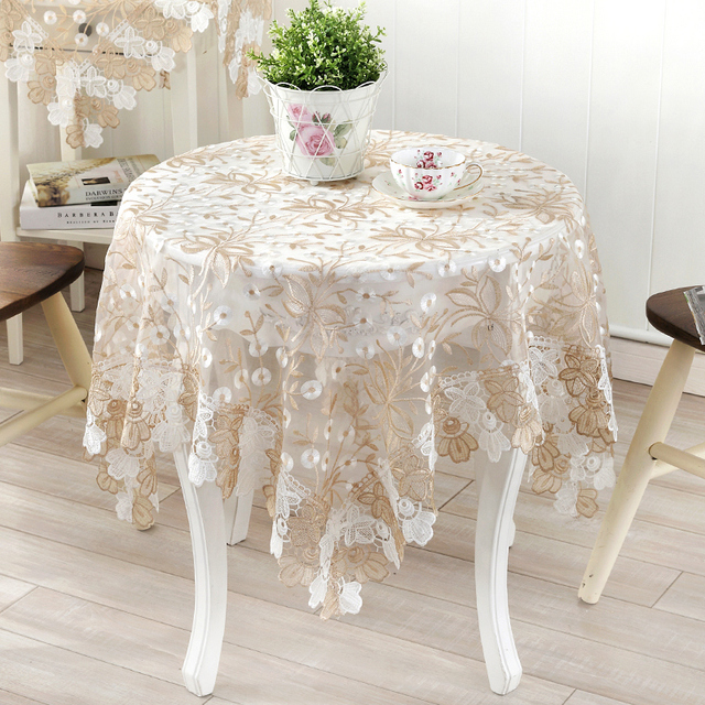 Coffee Table Lace Cloth Cover Bedside Table Glass Yarn Round Small  Tablecloth