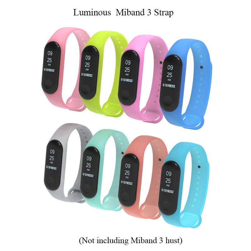 Image 3 - BOORUI Luminous Silicone Miband 3 Strap pulsera adjustable Colorful wrist strap replacement for xiaomi mi 3 smart bracelets band-in Smart Accessories from Consumer Electronics