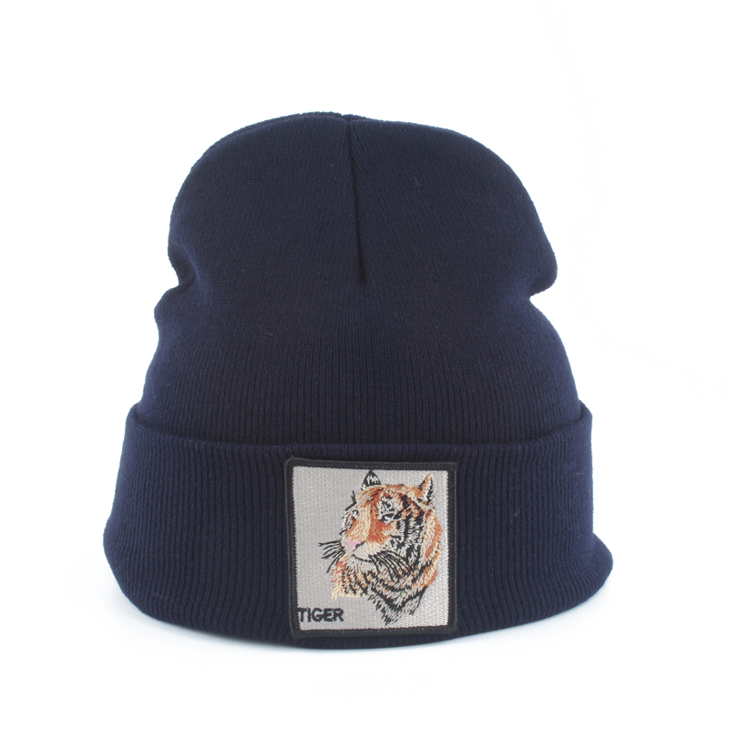 Animal   Beanies   Tiger Embroidery Winter Hats For Men Womens Warm Knitted Hat gorra Hip hop   Beanie   Ski Cap