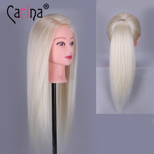 Big Sale Professional Styling Head With Blonde Hair 55cm Thick Wig Heads For Hairdressers Training Mannequin
