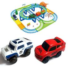 Electronic Rail Track Car Gift for Children Kids Battery Power Educational Toy(China)
