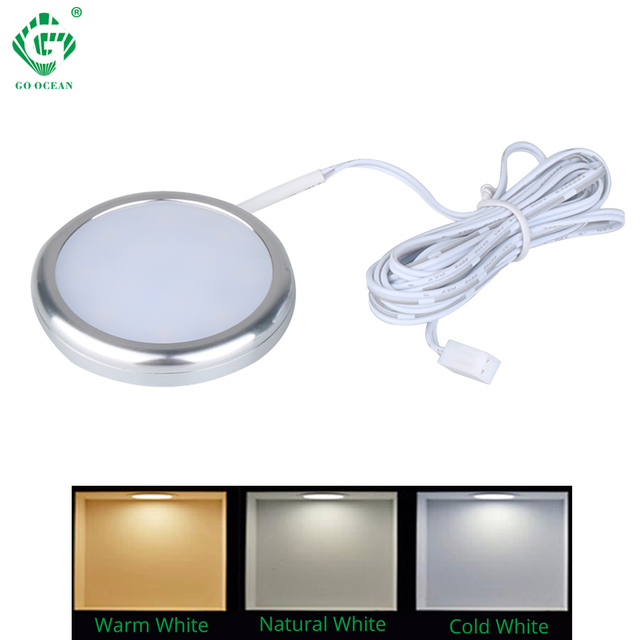 LED Under Cabinet Lights Puck Lamp 12V Round Aluminum Kitchen Counter Showcase Lamps LED Closet Lighting Furniture Shelf Light