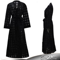 Black Abaya Chiffon Mesh Plaid Robe Abaya Dubai Muslim Dress Arabic Hijab Dresses Caftan Turkish Islamic Clothing Ramadan Elbise