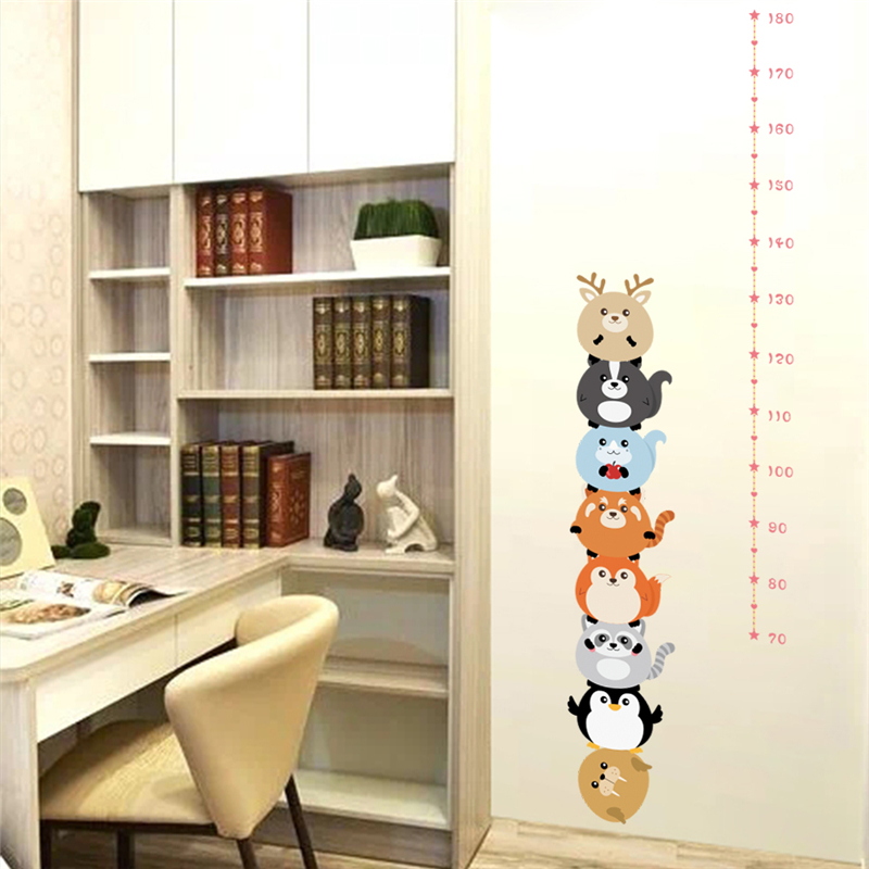 Funny Penguin Growth Chart 30*90cm Wall Stickers for Kids Rooms Home Decor Cartoon Animals Height Measure Wall Decals Pvc Poster
