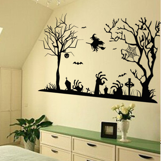 Halloween Decoration Wall Sticker Two Black Trees Witch Spider Bat Wall  Decal Store Window Glass Festival