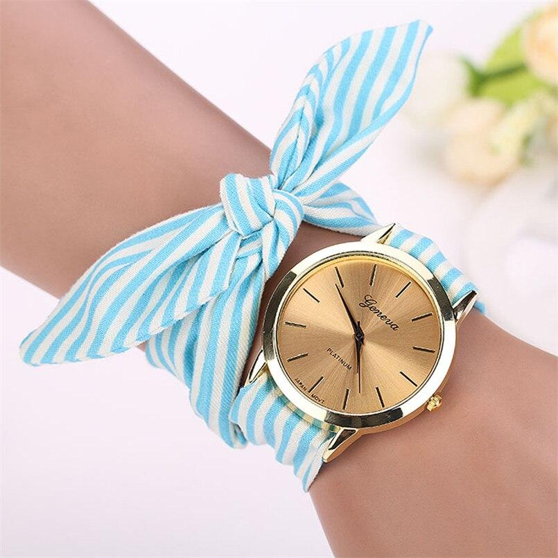 New design Ladies Stripe Floral Cloth wrist watch fashion women dress watch high quality fabric watch sweet girls watch Noble M