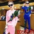2016 resorte de las mujeres ropa femenina casual pantalones de cachemir traje de pavo real con lentejuelas mujeres chándales de 2 unidades establece femenino