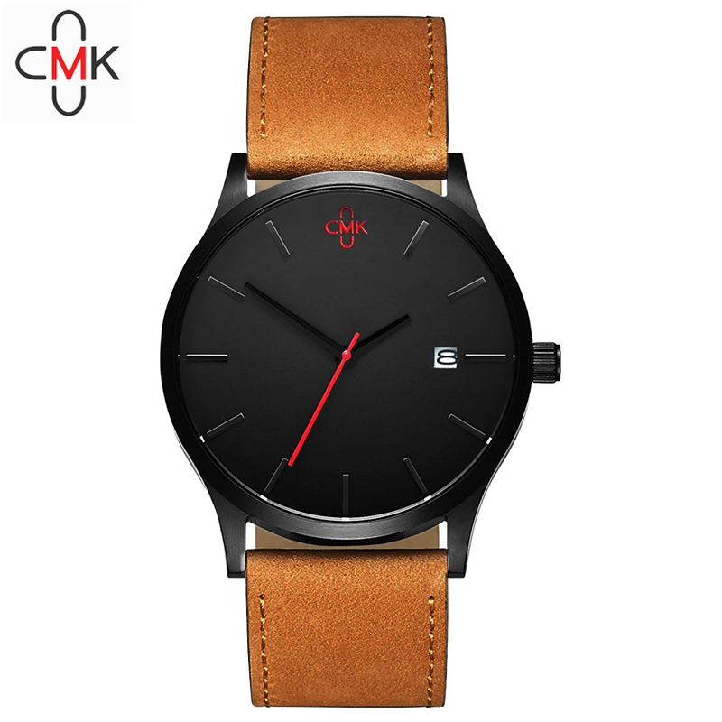 cmk Brand Casual Men's Watches Leather Waterproof Calendar Joker Fashion Style Quartz Watch Men Sport Military Army Wristwatch стойка для штанг kraft fitness kfhbry