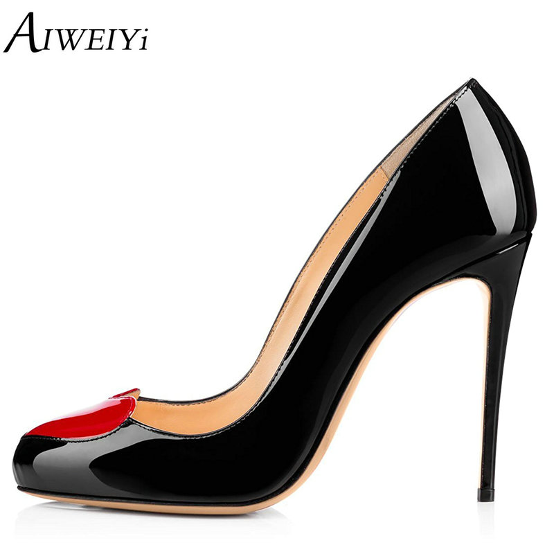AIWEIYi 12CM High Heels Shoes Woman Patent Leather Pumps Wedding Bridal Shoes Black Heels Women Shoes High Heels Women Pumps new women pumps shoes high heels 12cm luxury designer patent leather wedding bridal shoes sexy women s shoes with heels b 0052