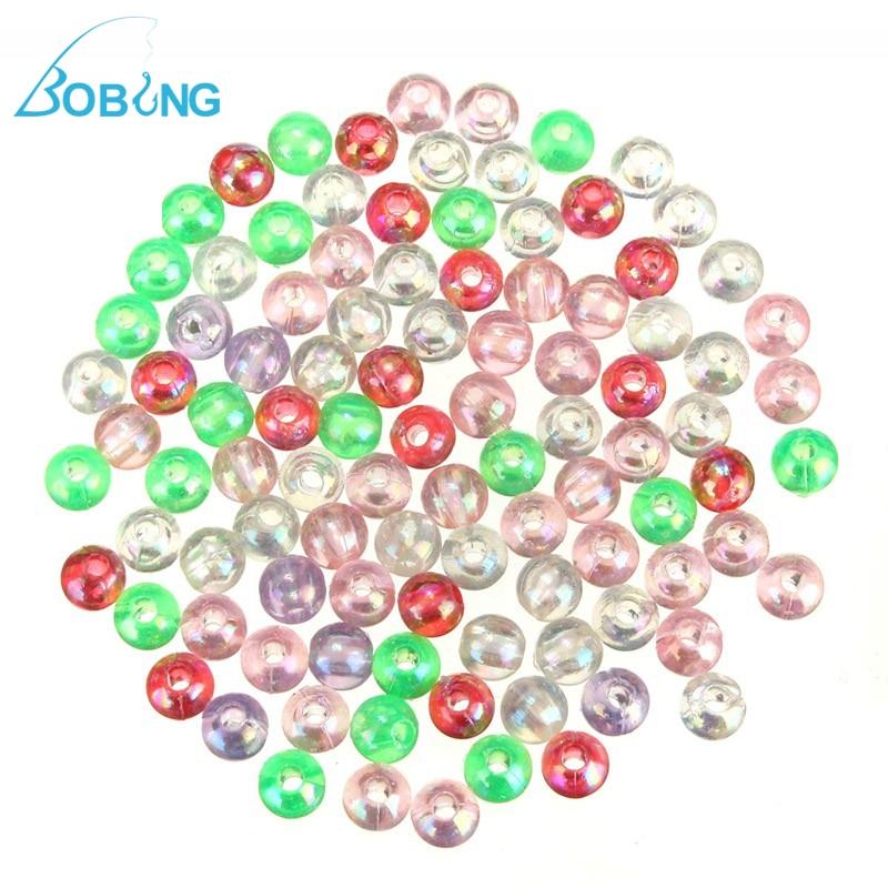 Bobing Reflective Beads 100pcs/lot 5mm Plastic Fishing Lure Bait Rid Beads Sea Fishing Deep Drop Crap Fishing Tackle Accessories