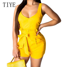 TIYE Sexy Spaghetti Strap Sleeveless Summer Rompers Playsuits Elegant Bow Belt Bodycon Bandage Jumpsuits Women Casual Overalls