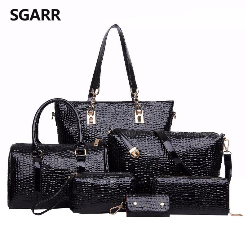 ФОТО 2016 High Quality Women Crocodile Pattern Composite Bag PU Leather Crossbody Bag+Handbag+Messenger Bag+Clutches Bag+Wallet 6 set
