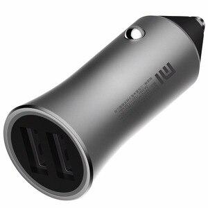 Image 4 - Originale xiaomi caricabatteria per auto carica veloce versione 18W supporto di 18W veloce carica dual USB di smart uscita punte di luce scocca in ottone