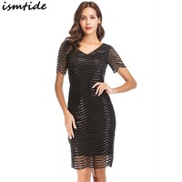1920s Gatsby Dress Vintage Short Sleeve Plus Size Dresses For Women V Neck Knee Length Summer Mesh Lace Sequin Dress 2XL Vestido