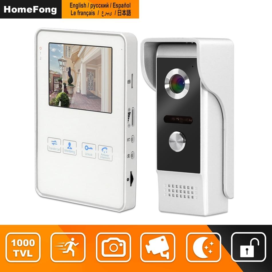 HomeFong 4 inch Video Door Intercom for Home Security System Kit with  Indoor Monitor Outdoor Video Doorbell Camera Support CCTV