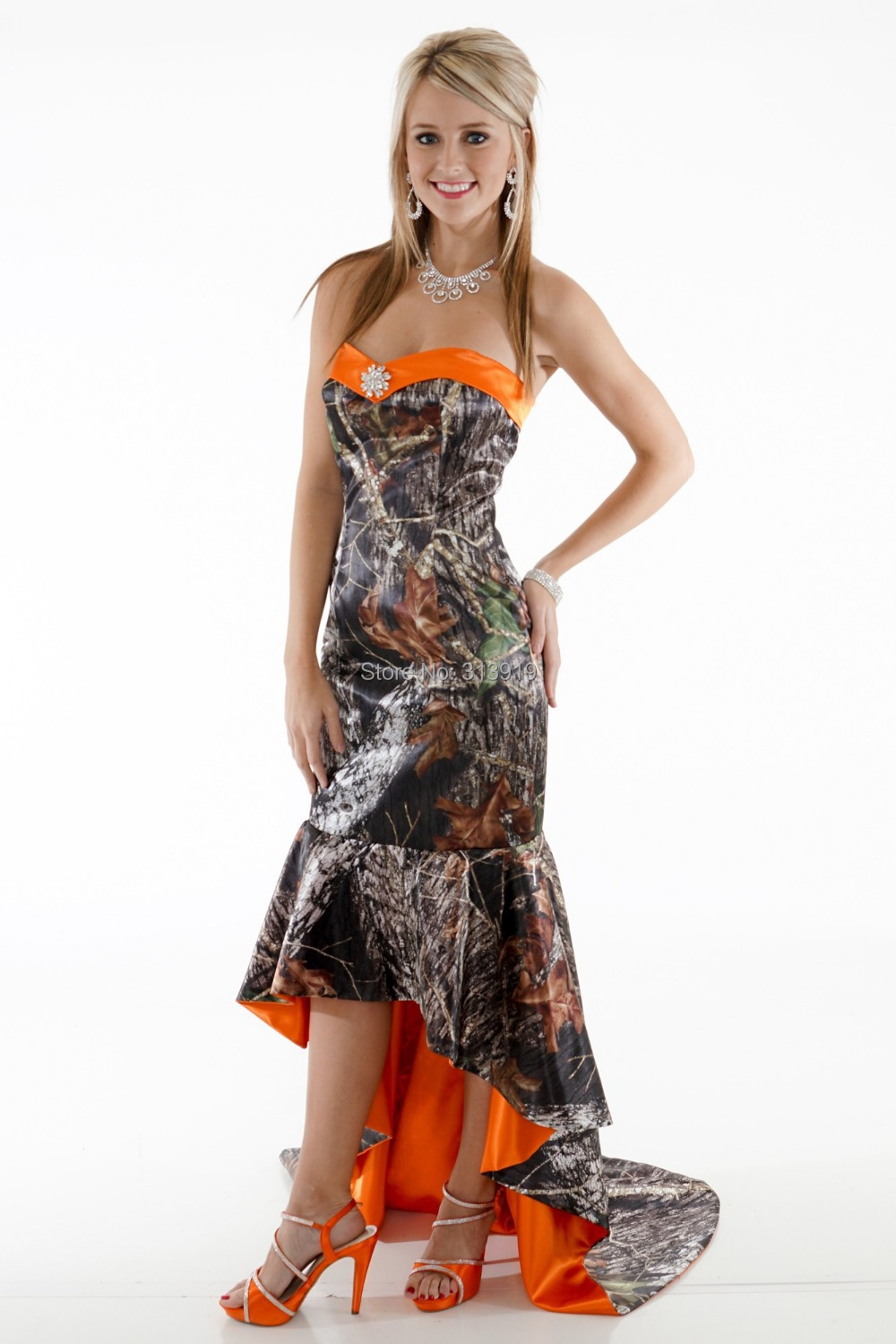 Sweetheart Fishtail Mermaid Short Front Long Back Camo Prom Dresses 2018 Party Gowns Camouflage