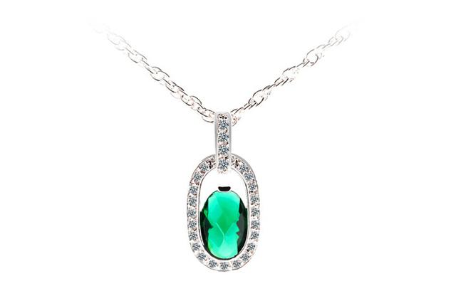 Mujeres de AAA + Zircon esmeralda del collar cristal de lujo CZ Diamond mujeres joyería marca chapado en oro collares del collar caliente Mujer