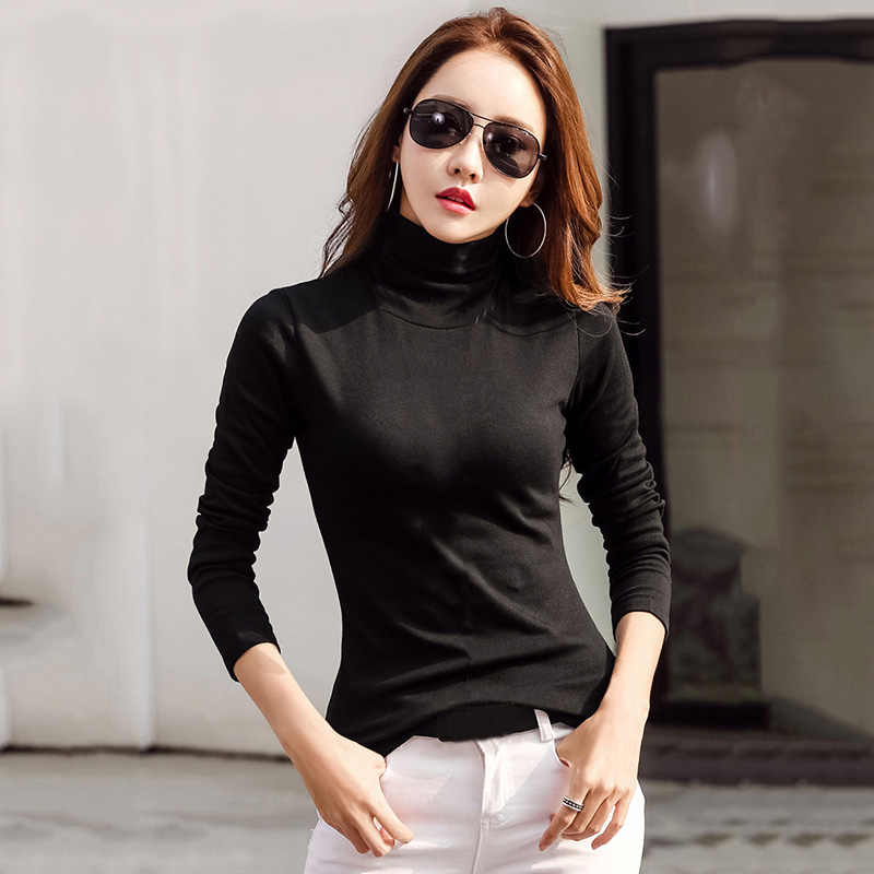10a2d992913 New Fashion Women Turtleneck T-Shirt Solid Long Sleeve Autumn Winter Slim  Bodycon Tops Female