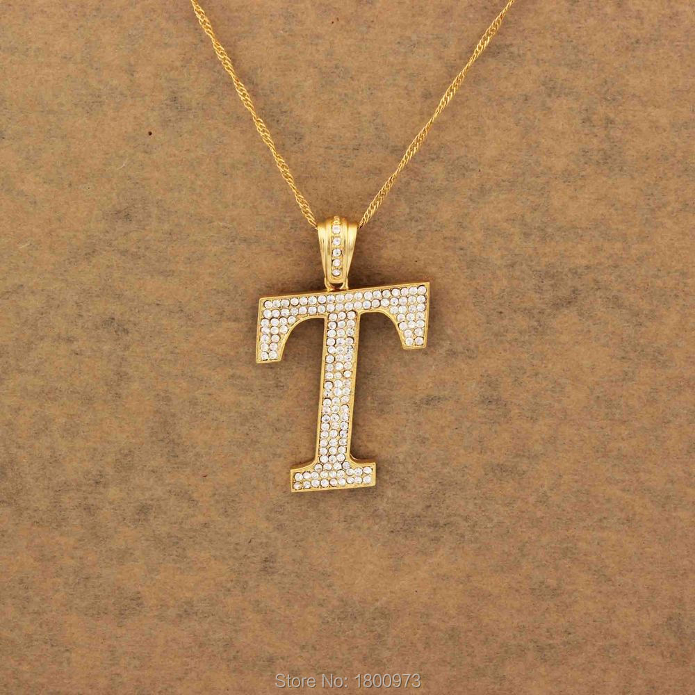 real letter genuine diamond unisex t ct yellow initial pendant gold itm