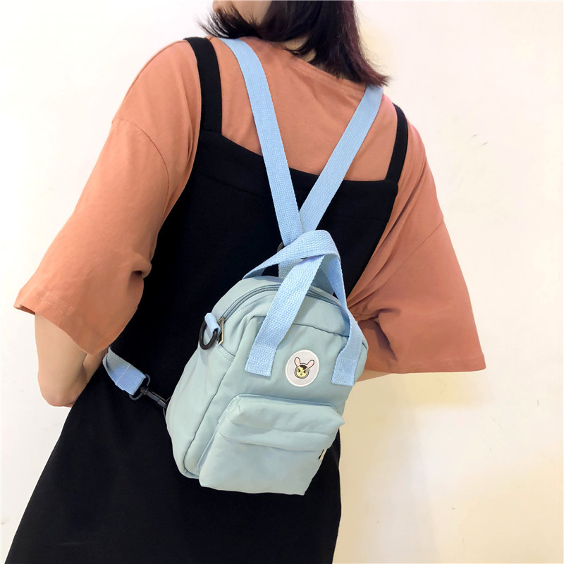 Korean Style Canvas Small Mini Backpack For Women Fashion Travel Backpack Leisure School Bag Tote For Tennage Girl Shoulder Bag
