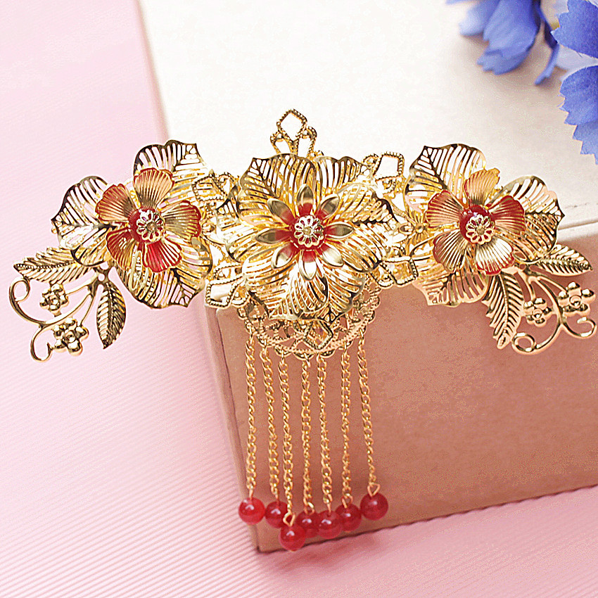 bride headdress red and gold tassels classical Chinese wedding costume golden hair ornaments show kimono dress accessories 5