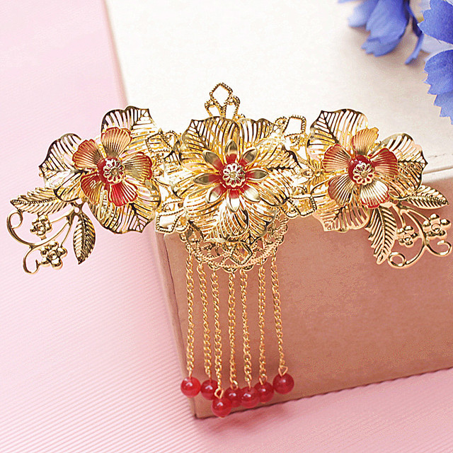 bride headdress red and gold tassels classical Chinese wedding