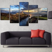 Villa Landscape Painting 5 Pieces Home HD Print Artwork The Wall Art Paintings Canvas Living Room