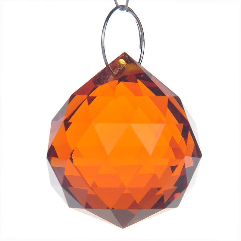 "10 PCS Brown Crystal Round Ball Hanging Drop Lamp Home Decor 1/"" Prism Pendant"