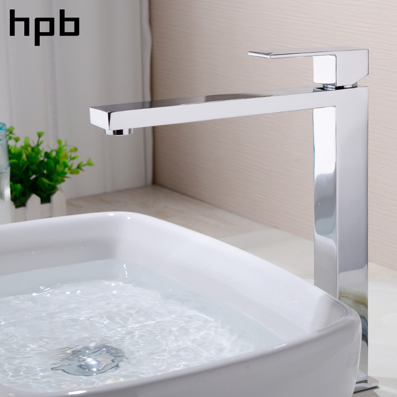 HPB Tall Basin Sink Faucet Bathroom Brass Chrome Single Lever Mixer Tap Hot And Cold Water High Quality Square Style HP3130 free shipping high quality chrome finished brass in wall bathroom basin faucet brief sink faucet bf019