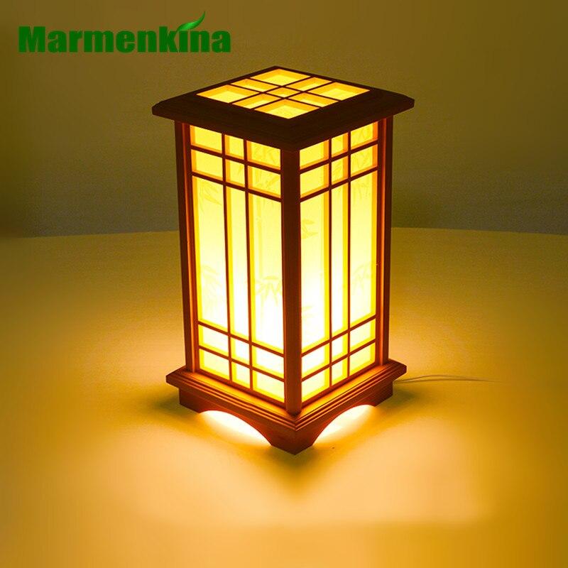 Marmenkina Japanese-style table lamp indoor lamp living room floor wood lamp bedroom den wood paper Desk lamp AC110-240V retro style living room lamp creative american country floor light solid wood floor lamp three foot