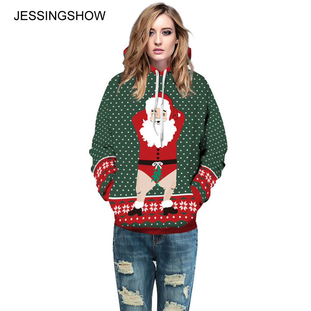 JESSINGSHOW Autumn Winter Women Men Christmas Casual Hoodie Sweatshirts Long Sleeve 3D Printing Pocket Hooded Pullover Oversize