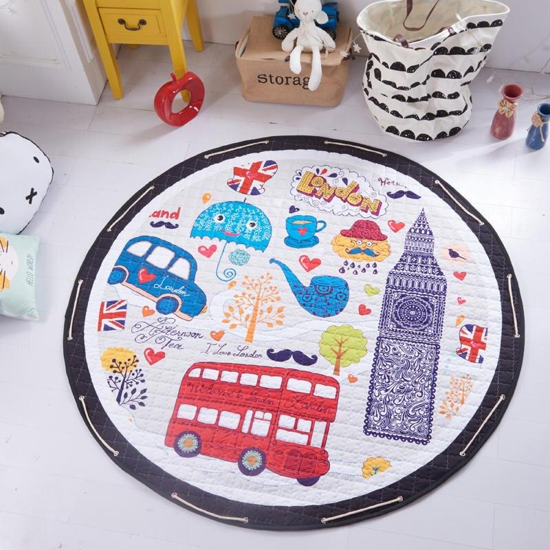 Tapis de bande dessinée pour enfants tapis de jeu pour enfants tapis de Puzzle rampant avec sac de rangement jouets pour enfants articles divers Pouch150cm tapis ronds