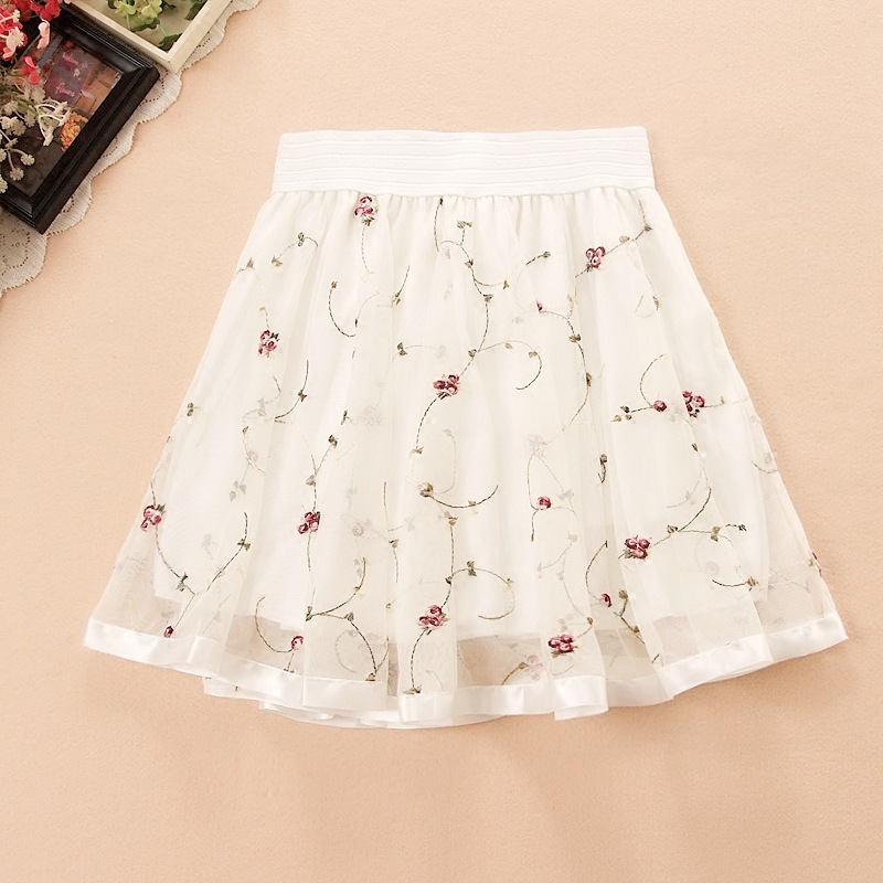 2020 Eugen Tutu Skirt High Waist Lace Yarn Pleated A-line Mini Skirt Vintage Skirt Floral Safety Shorts Inside Free Shipping