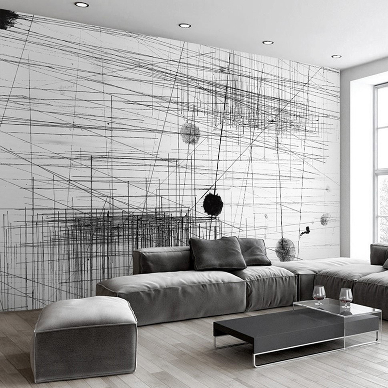 Custom Photo Wallpaper Modern Fashion Abstract Black White Lines Dots Creative Art Mural Wallpaper Living Room