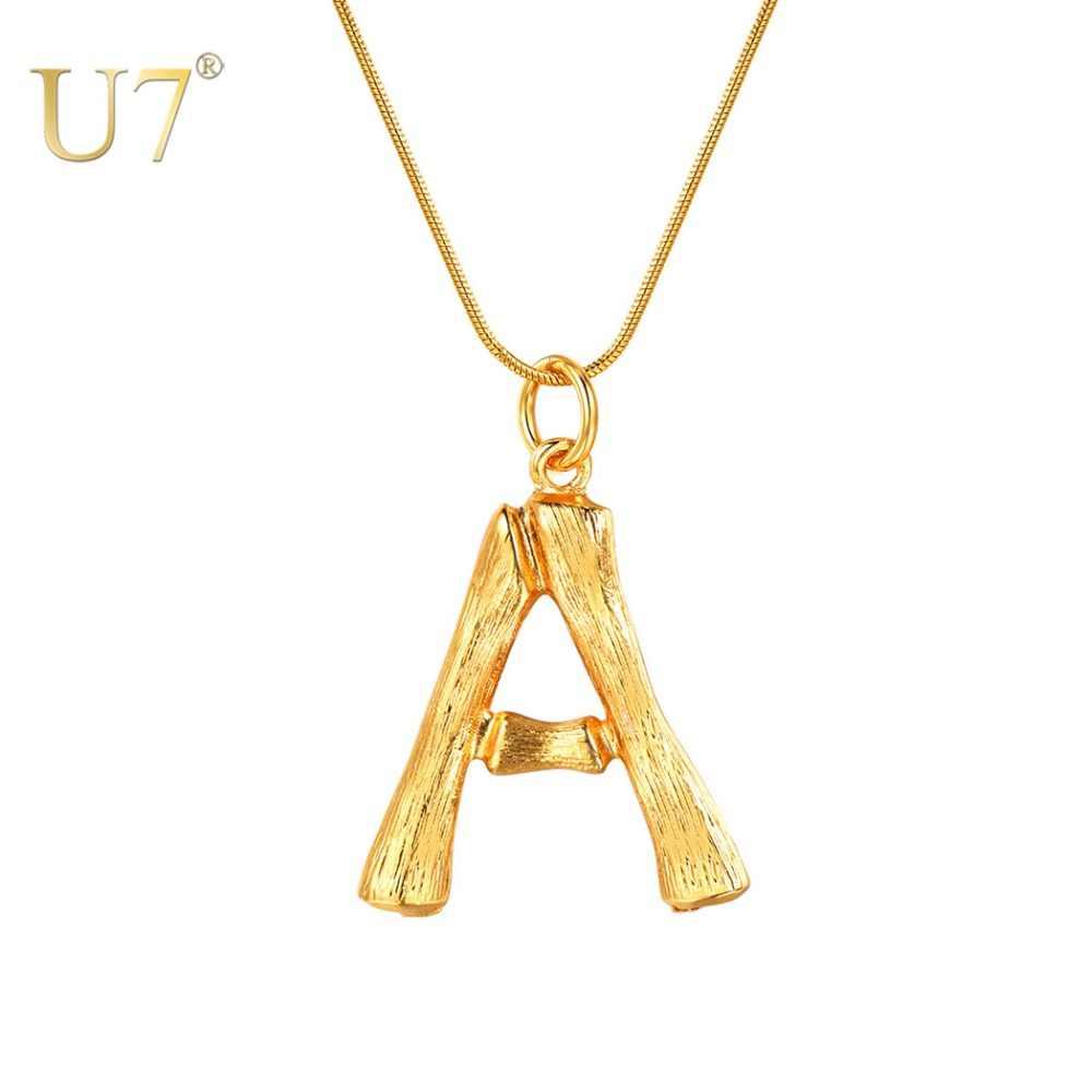 """U7 Большие буквы бамбуковый кулон ожерелья с инициалами для Для женщин с 22 """"Змея цепочка ручная работа ювелирные украшения с надписями лучшие подарок на день матери P1211"""